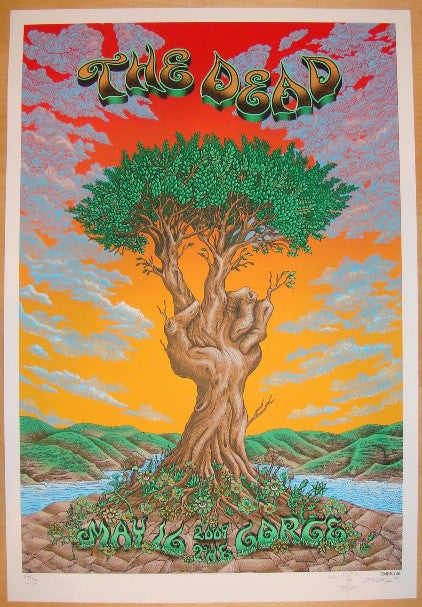 2009 The Dead - Gorge Sunset Variant Concert Poster by Emek