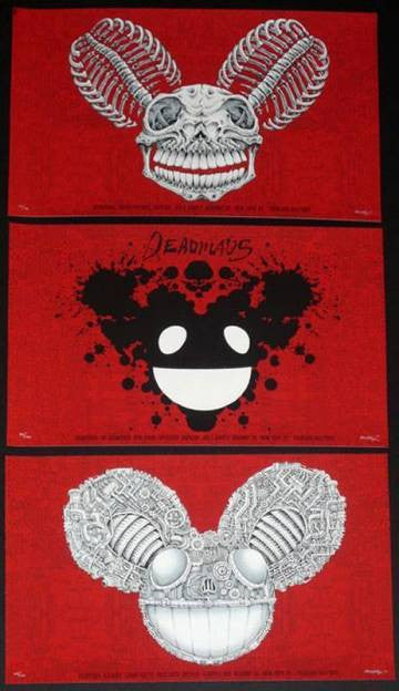 2010 Deadmau5 - NYC Red Silkscreen Concert Poster Set by Emek
