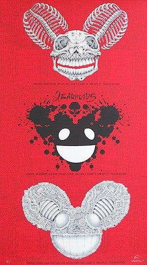 2010 Deadmau5 - NYC Red Uncut Silkscreen Concert Poster by Emek