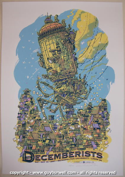 2007 The Decemberists - Leeds Concert Poster by Guy Burwell
