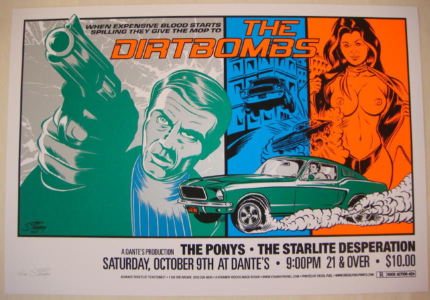 2004 The Dirtbombs - Silkscreen Concert Poster by Stainboy