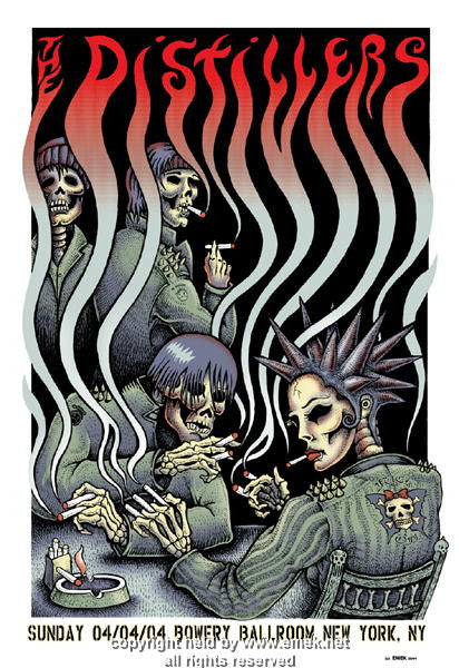 2004 The Distillers - Smokers  Silkscreen Concert Poster by Emek