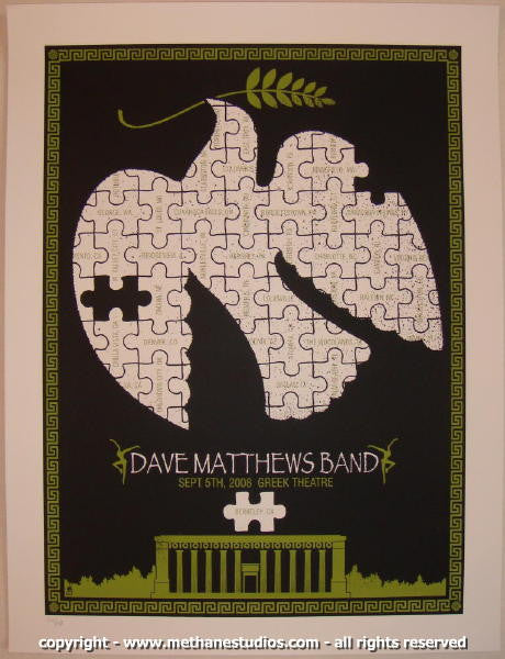 2008 Dave Matthews Band - Greek I Concert Poster by Methane