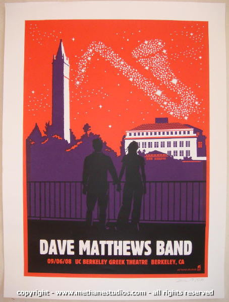 2008 Dave Matthews Band - Greek II Concert Poster by Methane