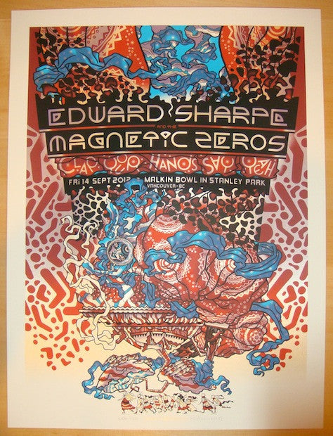 2012 Edward Sharpe - Vancouver Concert Poster by Guy Burwell