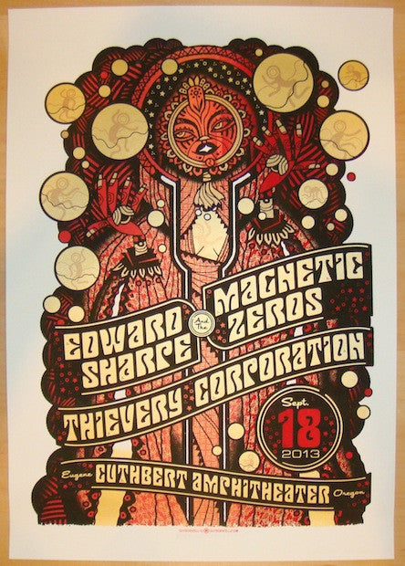 2013 Edward Sharpe - Eugene Concert Poster by Guy Burwell