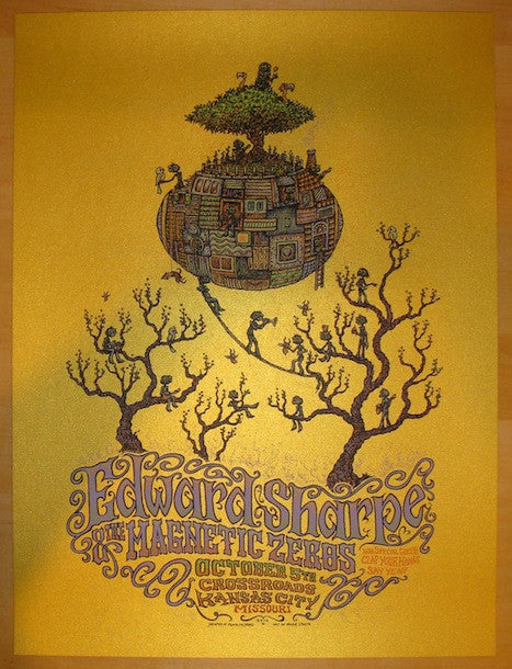 2012 Edward Sharpe - Kansas City Concert Poster by Marq Spusta