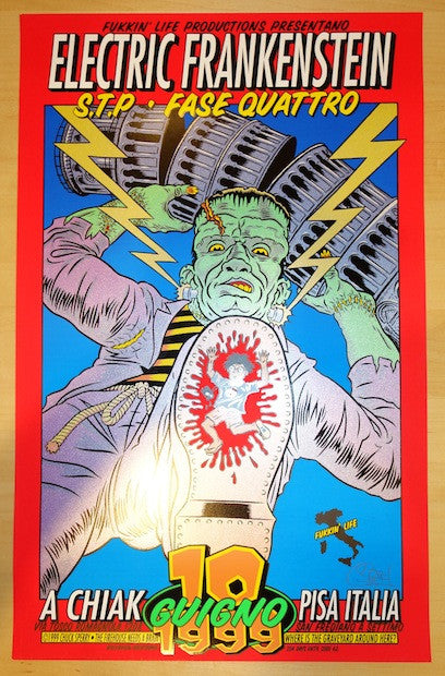 1999 Electric Frankenstein - Pisa Concert Poster by Chuck Sperry