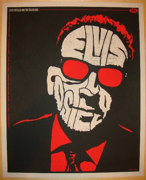 2009 Elvis Costello - Silkscreen Concert Poster by Todd Slater