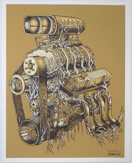 2005 QOTSA Engine - Silkscreen Handbill by Emek