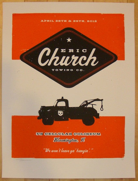 2012 Eric Church - Bloomington Concert Poster by Andrew Vastagh
