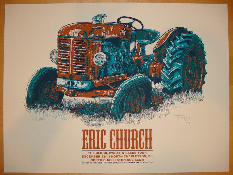 2012 Eric Church - Charleston Silkscreen Concert Poster by Tim Doyle