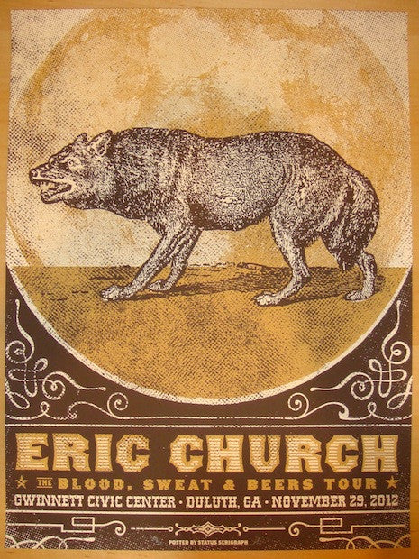 2012 Eric Church - Duluth Silkscreen Concert Poster by Status