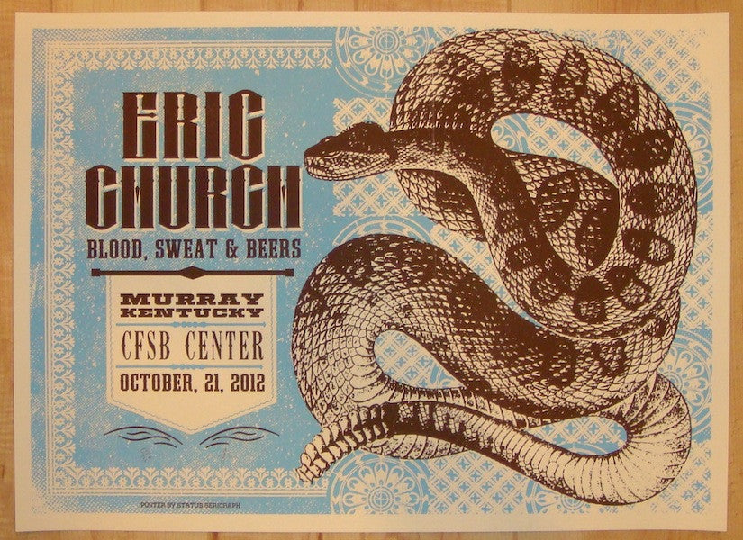 2012 Eric Church - Murray Silkscreen Concert Poster by Status