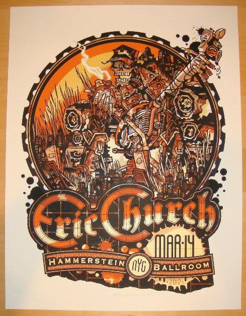 2012 Eric Church - NYC Silkscreen Concert Poster by Guy Burwell
