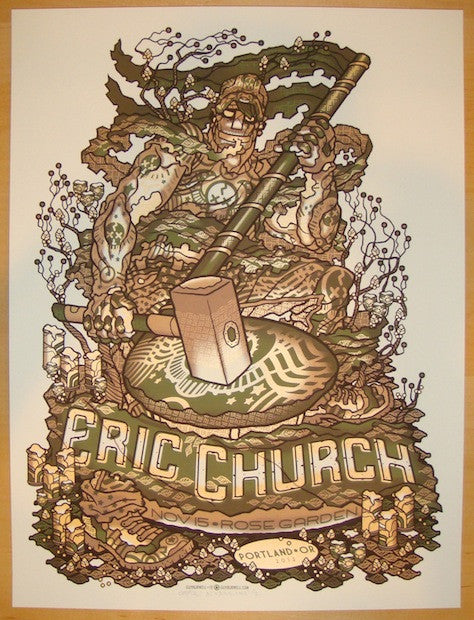 2012 Eric Church - Portland Silkscreen Concert Poster by Guy Burwell