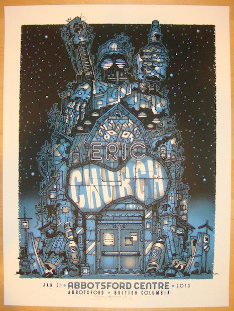 2013 Eric Church - Abbotsford Silkscreen Concert Poster by Guy Burwell