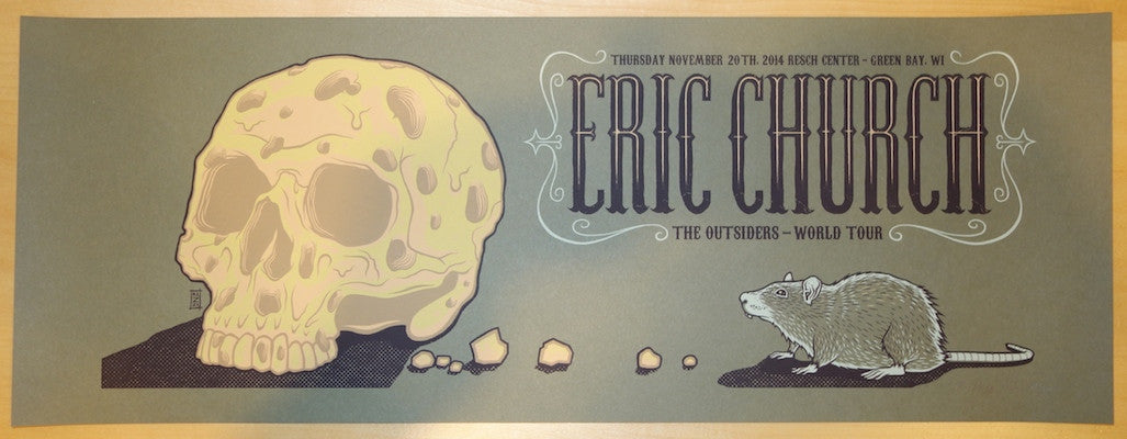 2014 Eric Church - Green Bay Silkscreen Concert Poster by Jim Mazza
