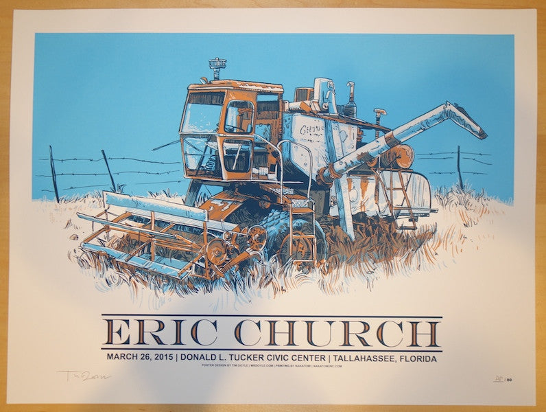 2015 Eric Church - Tallahassee Concert Poster by Tim Doyle