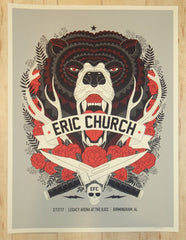 2017 Eric Church - Birmingham Silkscreen Concert Poster by Methane