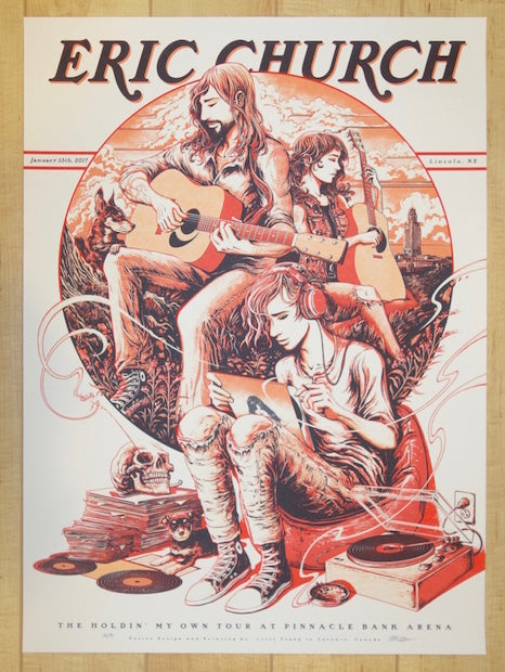 2017 Eric Church - Lincoln Red Variant Concert Poster by Miles Tsang