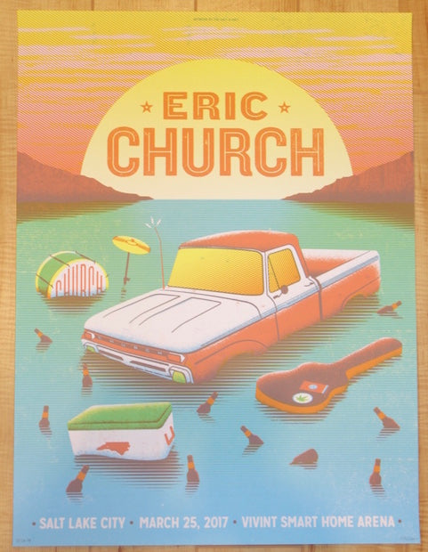 2017 Eric Church - Salt Lake City Silkscreen Concert Poster by Half & Half