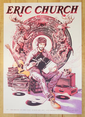 2017 Eric Church - Toronto Red Variant Silkscreen Concert Poster by Miles Tsang