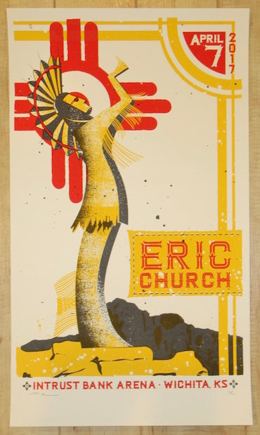 2017 Eric Church - Wichita Silkscreen Concert Poster by Andy Vastagh