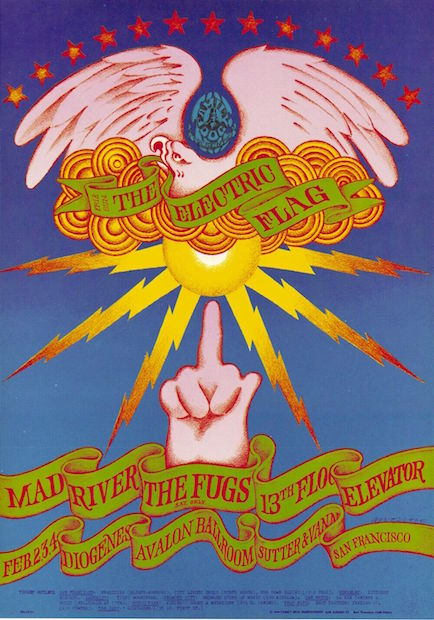 1968 Electric Flag / The Fugs - Avalon Ballroom Concert Poster by Victor Moscoso OP-1