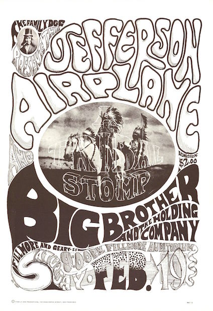 1966 Jefferson Airplane / Big Brother - Fillmore Concert Poster by Wes Wilson & Helms RP-2