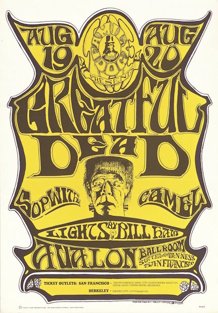 1966 Grateful Dead / Sopwith Camel - Avalon Ballroom Concert Poster by Mouse & Kelley RP-3