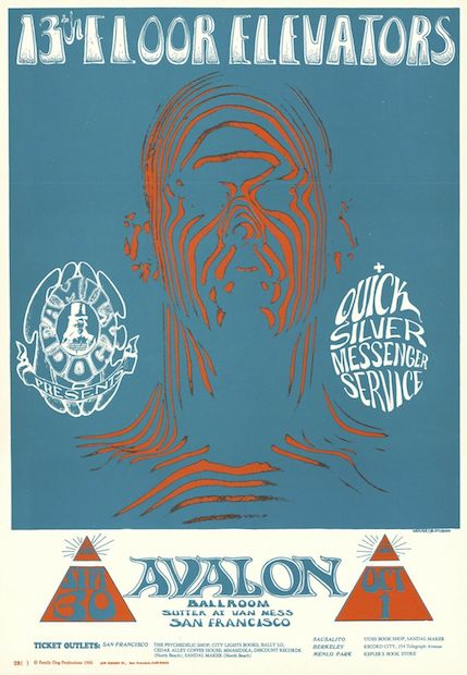 1966 13th Floor Elevators / Quicksilver Messenger Service - Avalon Poster by Mouse & Kelley RP-3