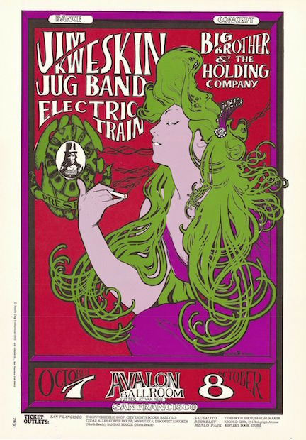 1966 Big Brother & The Holding Co. (Janis Joplin) - Avalon Concert Poster by Mouse/Kelley