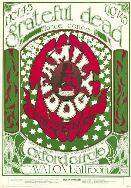 1966 Grateful Dead / Oxford Circle - Avalon Ballroom Concert Poster by Mouse & Kelley RP-3