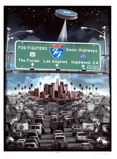 2015 Foo Fighters - Los Angeles Silkscreen Concert Poster by Emek
