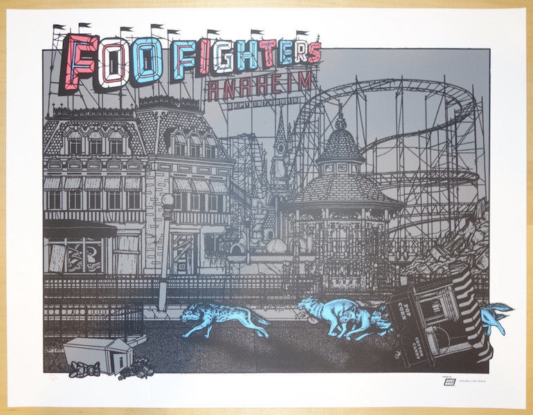 2015 Foo Fighters - Anaheim Silkscreen Concert Poster by Ames