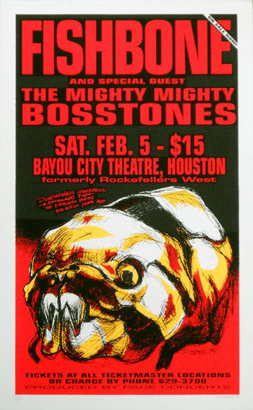 1994 Fishbone - Houston Silkscreen Concert Poster by Derek Hess (94-03)