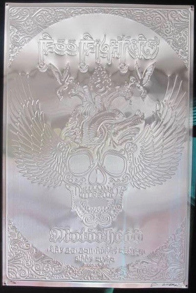 2011 Foo Fighters & Motorhead - Missoula Embossed Aluminum Concert Poster by Emek