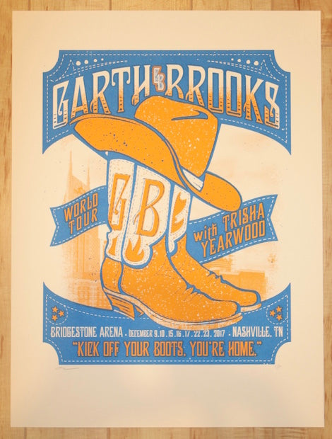 2017 Garth Brooks - Nashville Silkscreen Concert Poster by Andy Vastagh