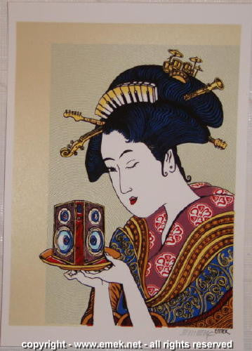 2004 DMB Geisha - Dual Background Silkscreen Handbill by Emek