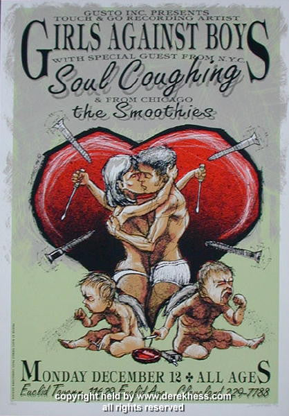 1994 Girls Against Boys & Soul Coughing - Cleveland Concert Poster by Derek Hess (94-26)