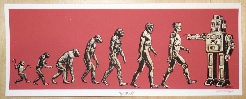 2008 Go Back - Red Silkscreen Handbill by Emek