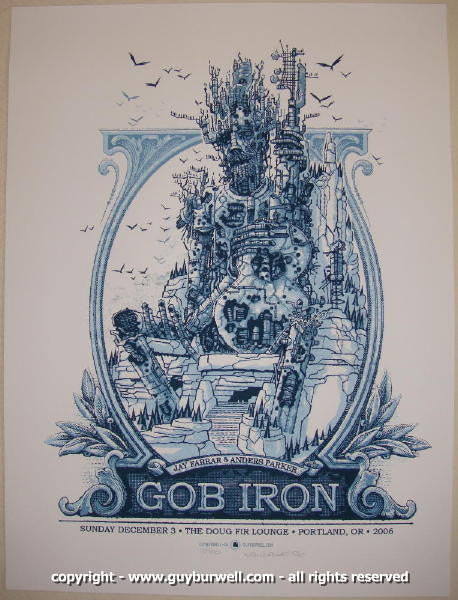 2006 Gob Iron Silkscreen Concert Poster by Guy Burwell