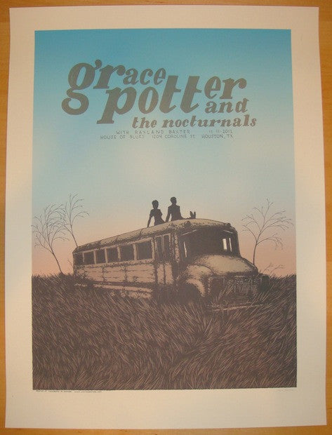 2012 Grace Potter - Houston Silkscreen Concert Poster by Justin Santora