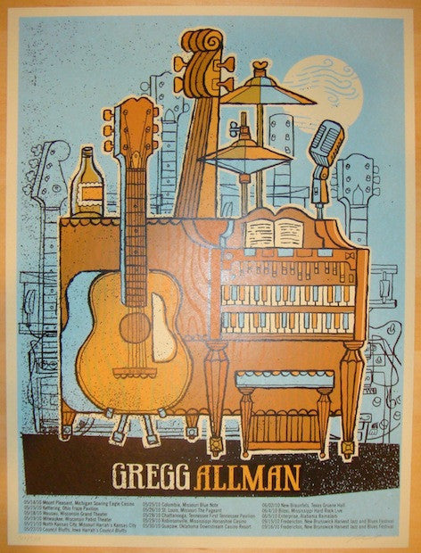 2010 Gregg Allman - Silkscreen Tour Poster by Methane