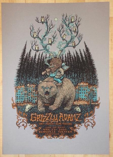 2010 Grizzly Adamz - Woodstock Silkscreen Concert Poster by Marq Squsta