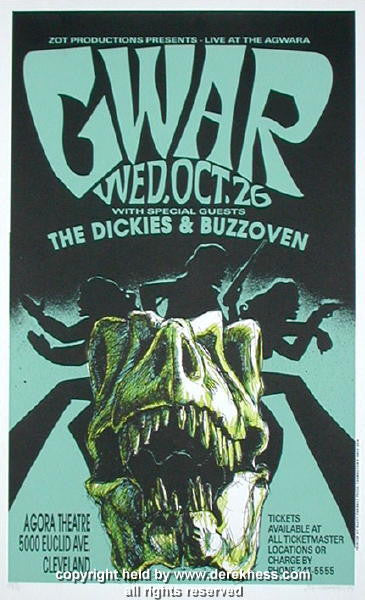 1994 Gwar & the Dickies - Cleveland Concert Poster by Derek Hess (94-23)