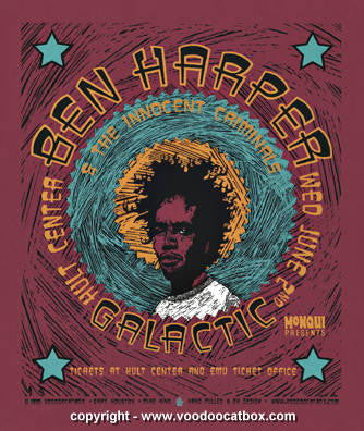 1999 Ben Harper & Galactic Concert Poster by Gary Houston
