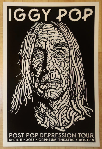 2016 Iggy Pop - Boston Black & White Variant Concert Poster by Guy Burwell