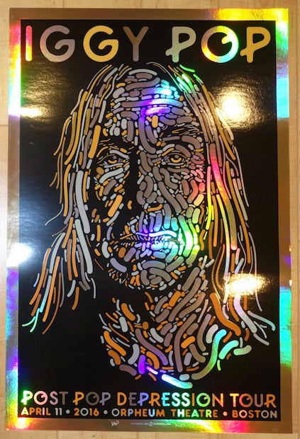 2016 Iggy Pop - Boston Foil Variant Concert Poster by Guy Burwell